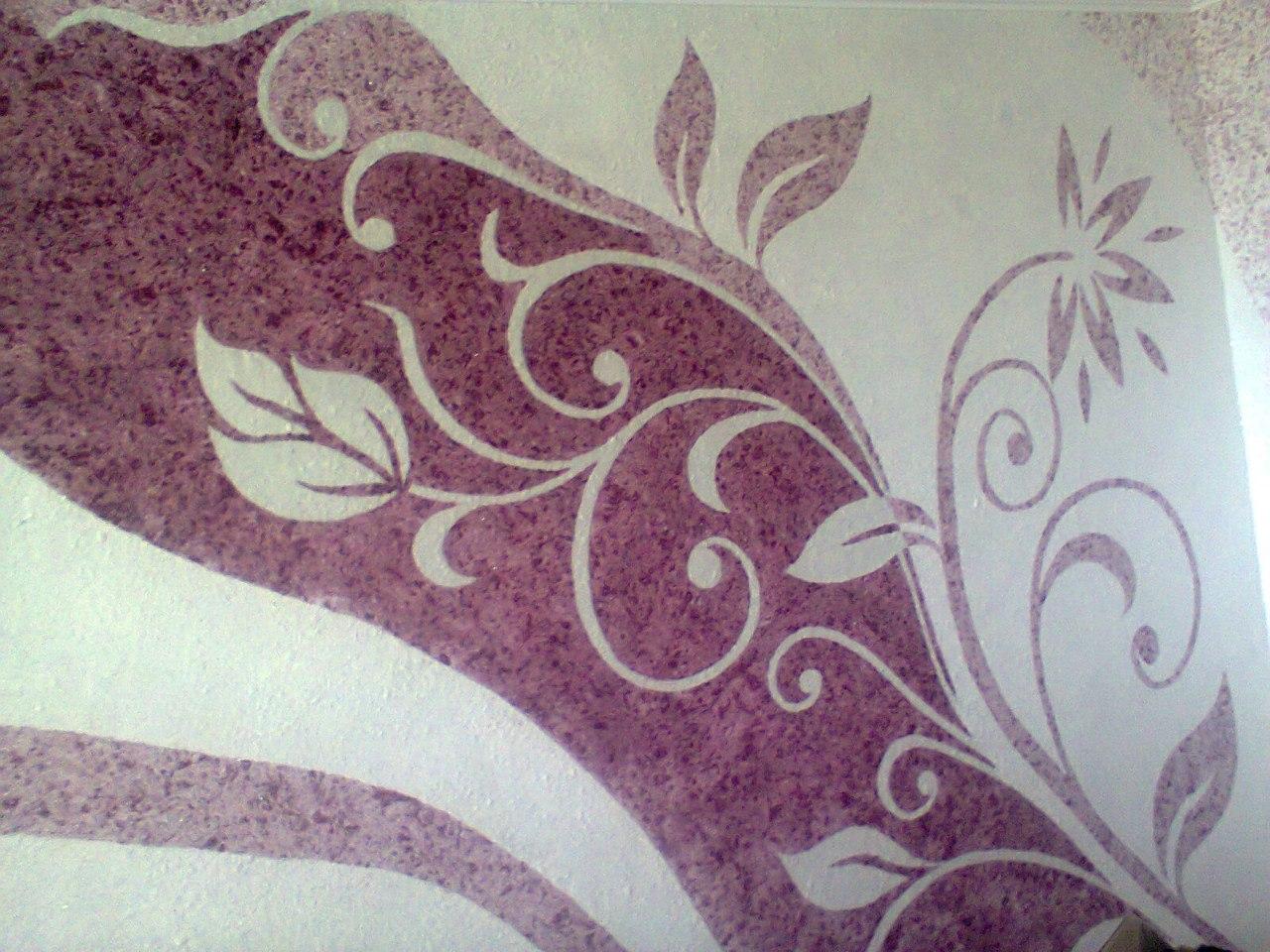 дизайн рисунок цветы из жидких обоев выбрать купить